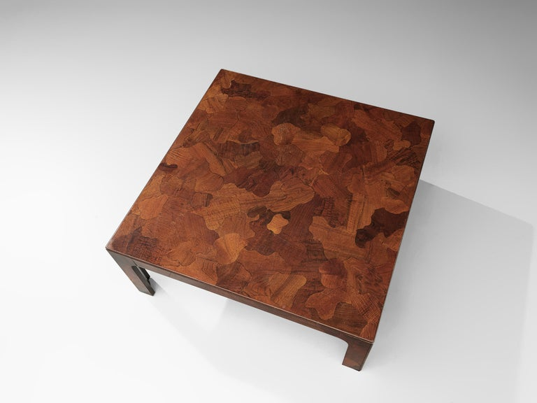 Square Coffee Table in American Walnut with Inlayed Top For Sale 3