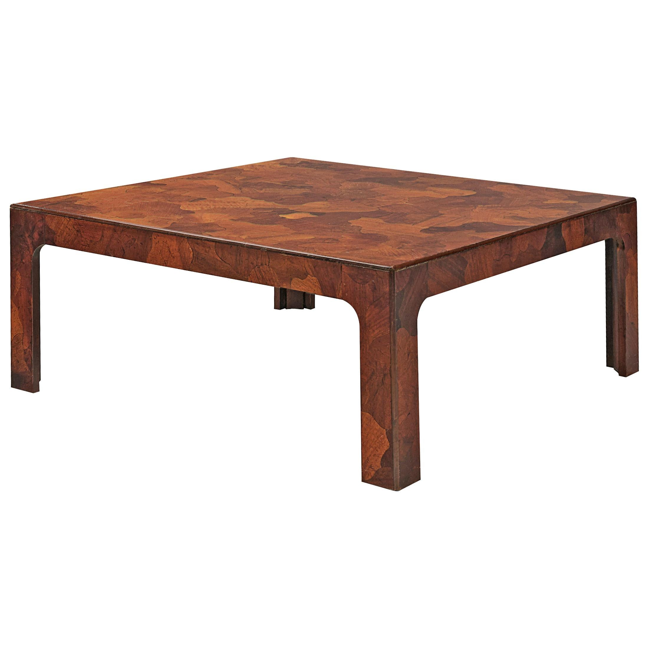 Square Coffee Table in American Walnut with Inlayed Top