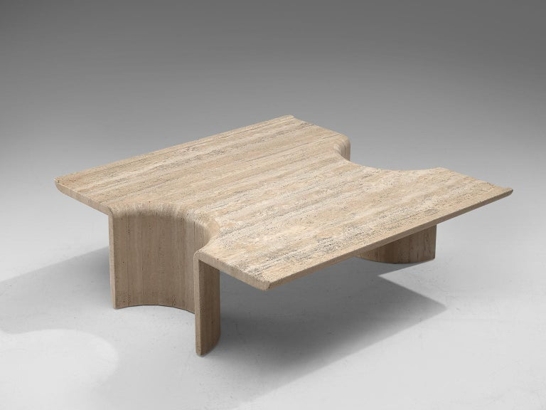 Square coffee table, travertine, Europe, 1970s.  This strong design coffee table features a square table top with half cylindrical legs. The legs are hollow, giving this table an architectural appearance. Special about this this is that fact that