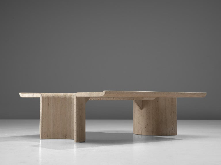 Mid-Century Modern Square Coffee Table in Travertine, 1970s For Sale