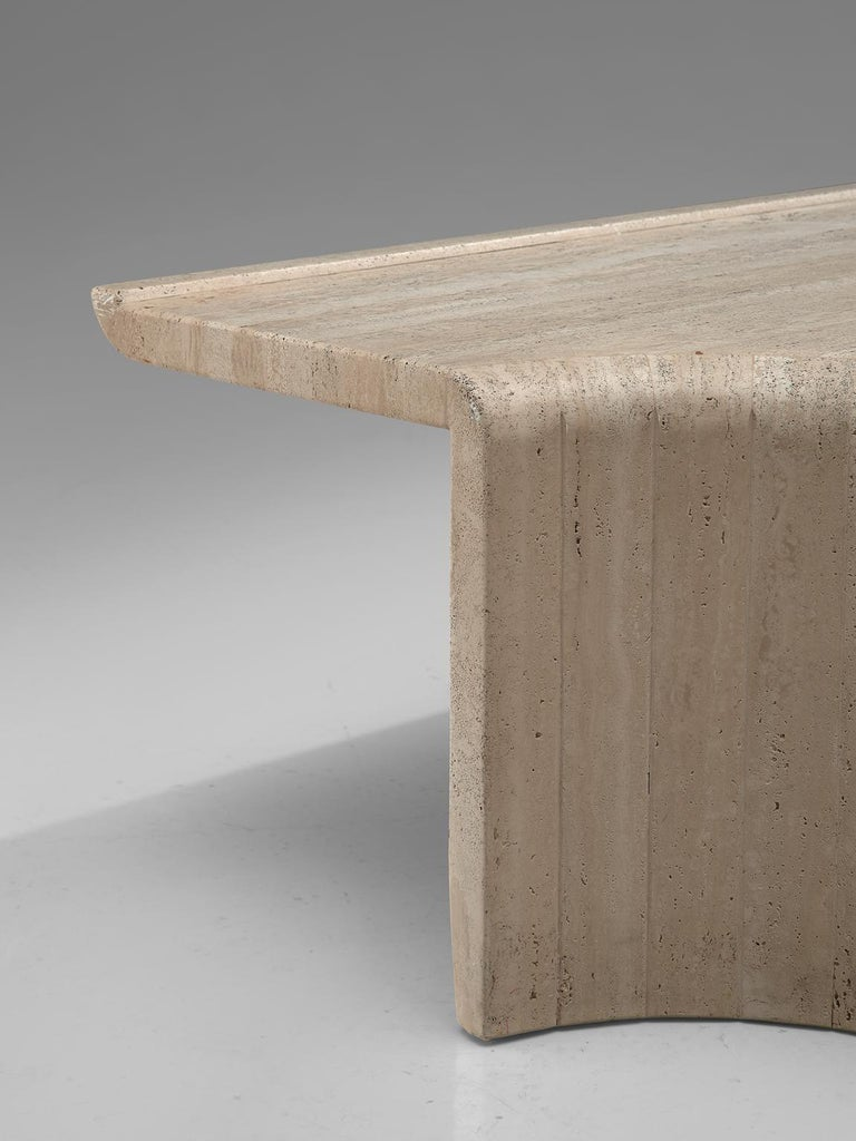 European Square Coffee Table in Travertine, 1970s For Sale