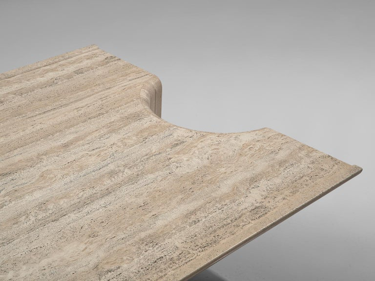 Square Coffee Table in Travertine, 1970s In Good Condition For Sale In Waalwijk, NL