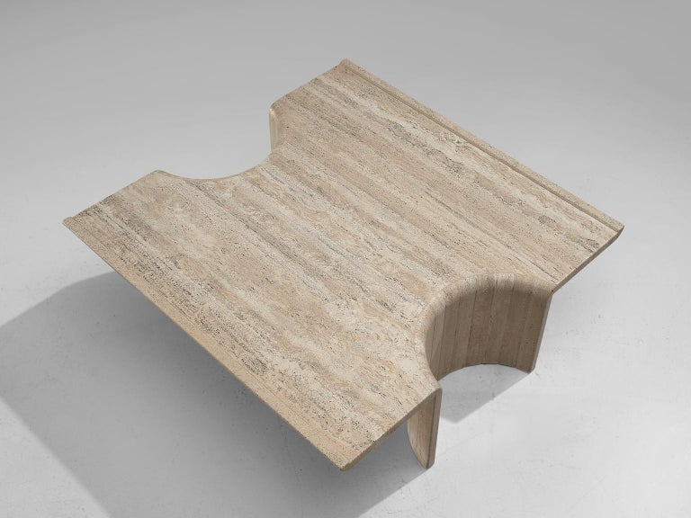 Late 20th Century Square Coffee Table in Travertine, 1970s For Sale
