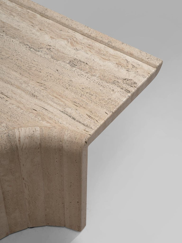 Square Coffee Table in Travertine, 1970s For Sale 1