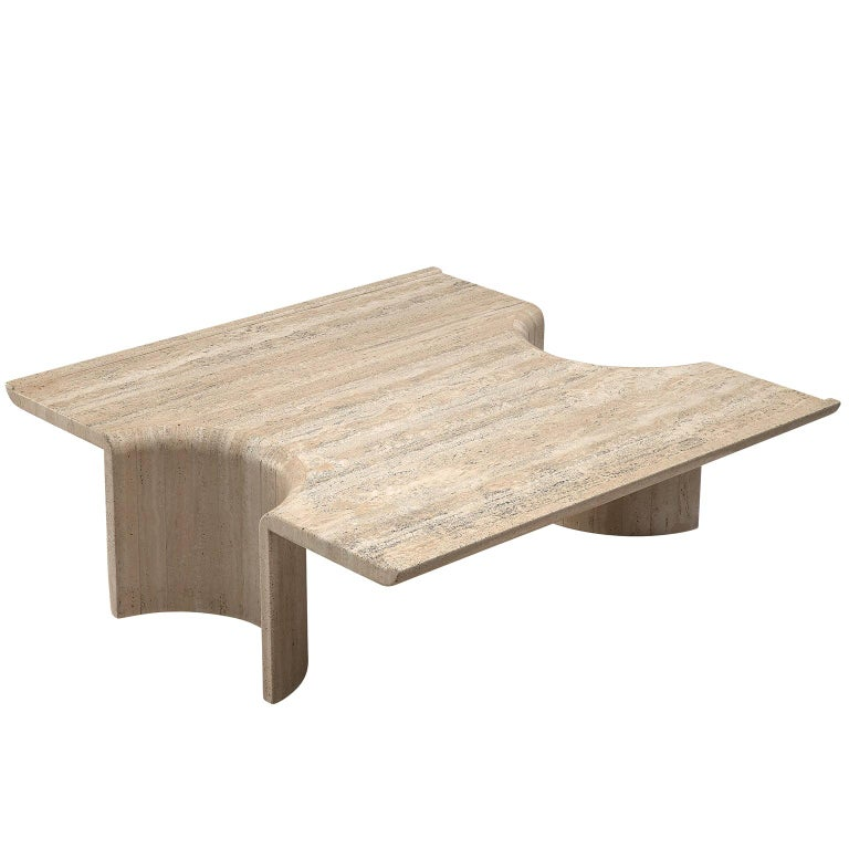 Square Coffee Table in Travertine, 1970s For Sale