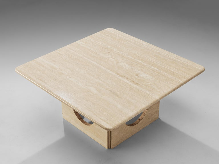 Mid-Century Modern Square Coffee Table in Travertine For Sale