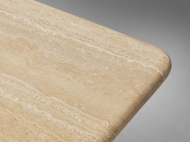 Square Coffee Table in Travertine In Good Condition For Sale In Waalwijk, NL
