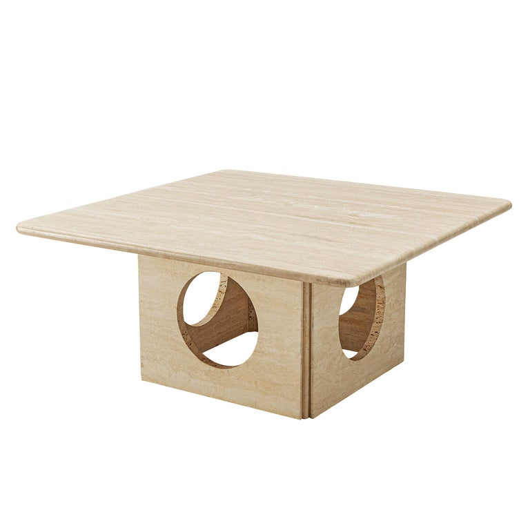Square Coffee Table in Travertine For Sale
