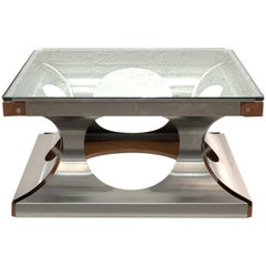Square Coffee Table Steel Glass Wood by Francois Monnet, France, 1970s