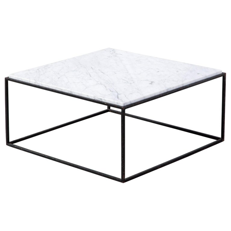 Square Coffee Table With Iron Base And Marble Top By Jorge Zalzupi