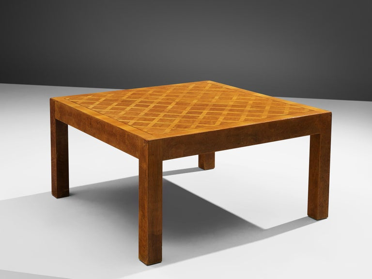 Square coffee table, walnut parquetry, Europe, 1960s.  Square coffee table with straight legs in walnut. With its overall sturdy appearance this square coffee table makes a clean and geometrical appearance. Elegance can be found in the details. The