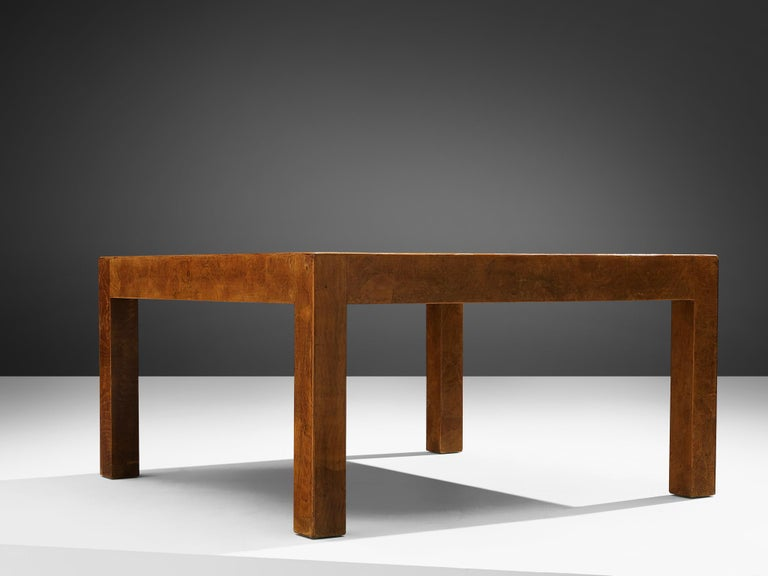 European Square Coffee Table with Parquetry in Walnut For Sale