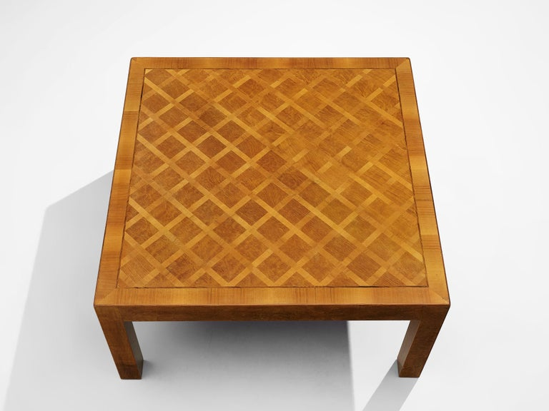 Square Coffee Table with Parquetry in Walnut In Good Condition For Sale In Waalwijk, NL