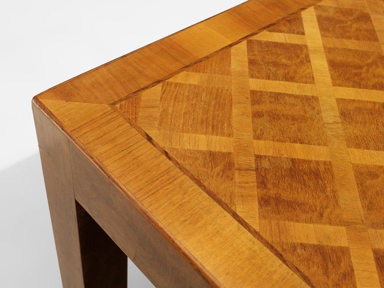 20th Century Square Coffee Table with Parquetry in Walnut For Sale