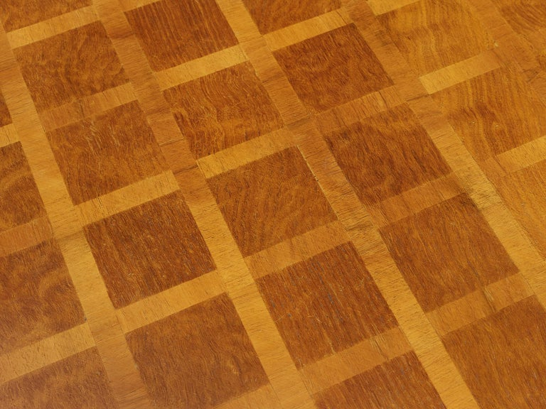 Square Coffee Table with Parquetry in Walnut For Sale 1