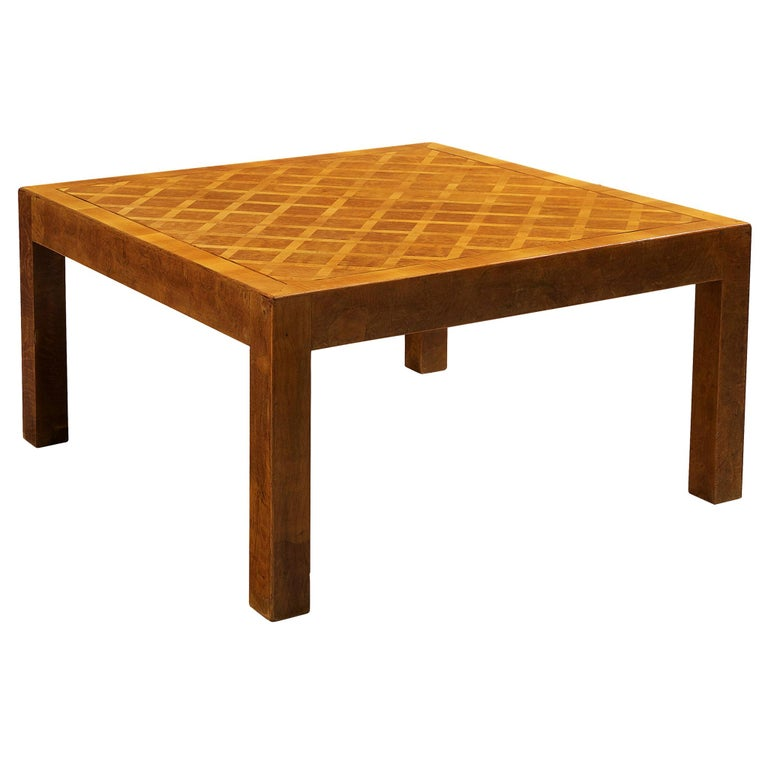 Square Coffee Table with Parquetry in Walnut For Sale