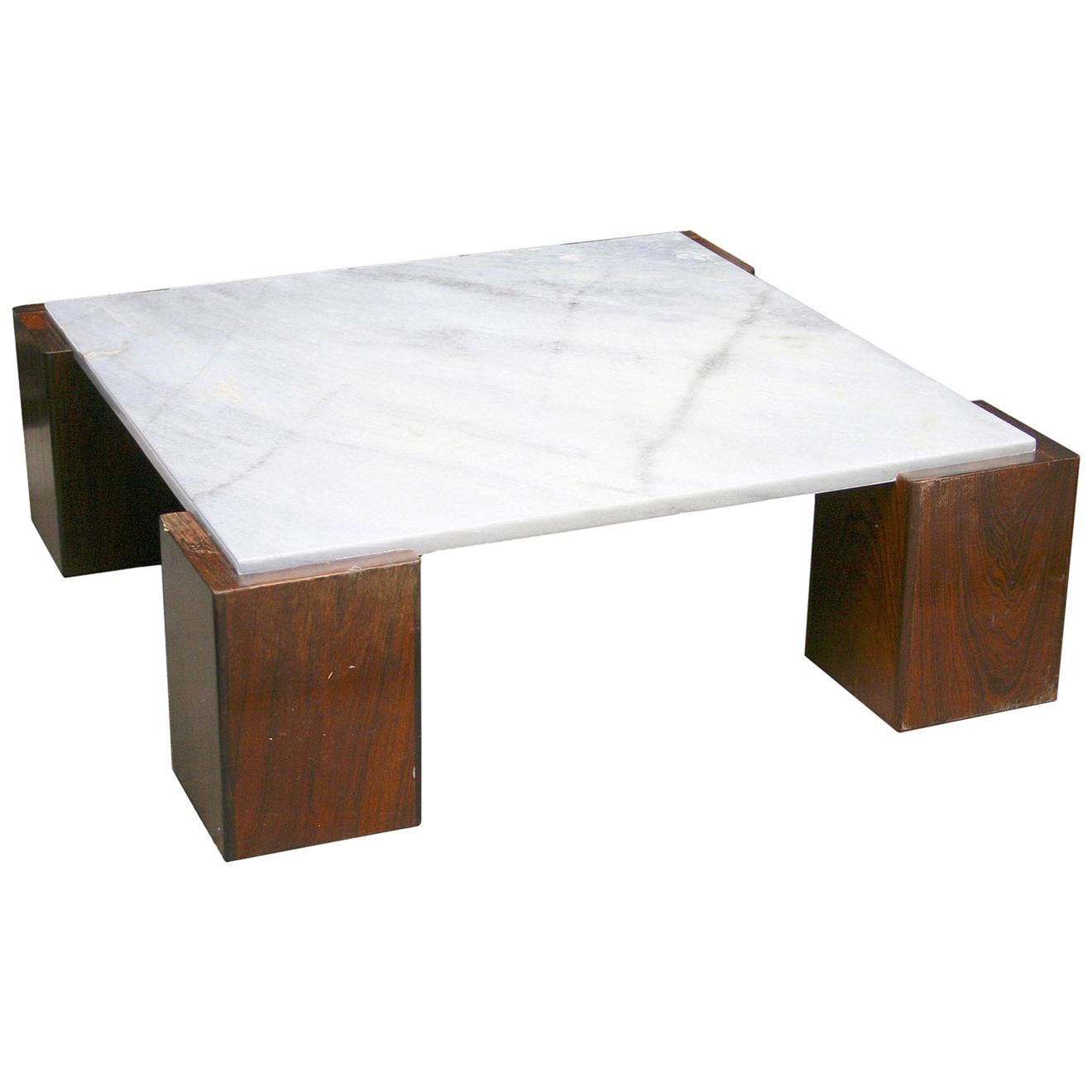 Square Coffee Table with Rosewood Legs and Marble Top, 1950s