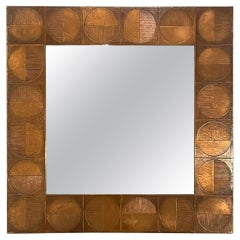Square Copper Bragalini Mirror Excellent Vintage Patina, Italy, 1960s