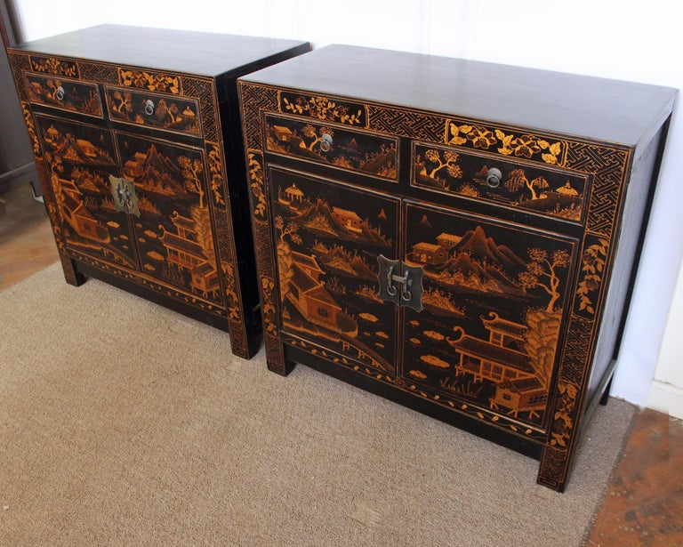 Chinese Export Square Corner Black Cabinet with Gilt Painting For Sale