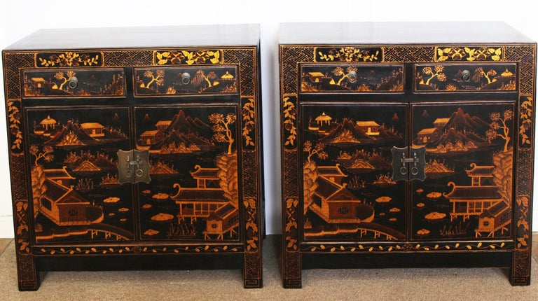 Chinese Square Corner Black Cabinet with Gilt Painting For Sale