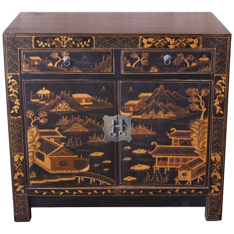 Square Corner Black Cabinet with Gilt Painting For Sale