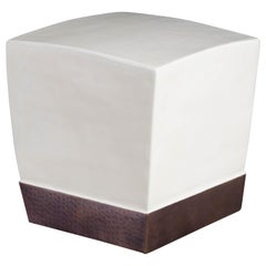 Square Crown Drumstool, Cream Lacquer by Robert Kuo, Hand Repousse, Limited