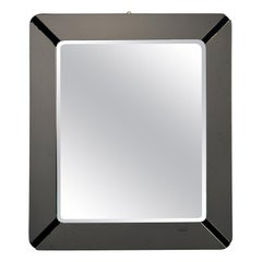 Square Crystal Arte Mirror with Gray Art Glass Frame