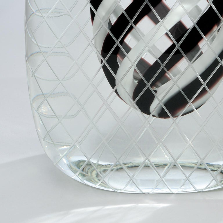 Hand blown, engraved and polished, crystal overlay. Black and white glass Murano glass. Made in Murano 2010.