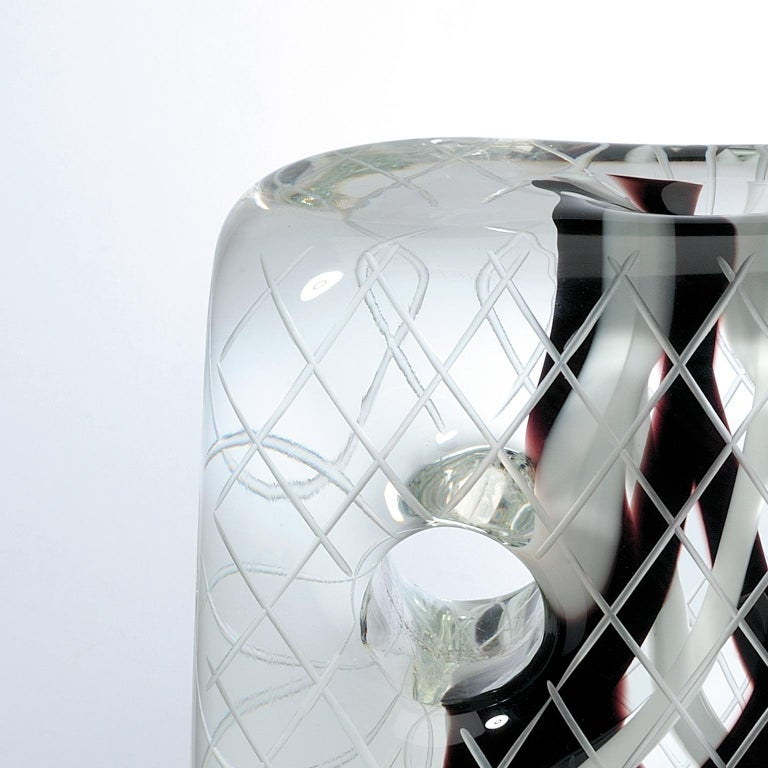 Contemporary Square Crystal black and white Mask For Sale