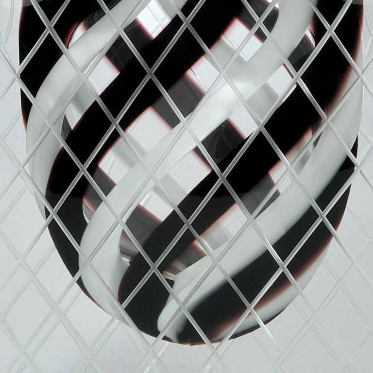 Blown Glass Square Crystal black and white Mask For Sale
