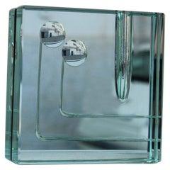 Square Crystal Gallotti & Radice Italian Design 1960s Minimal Design Green