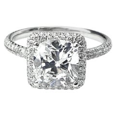 Square Cushion Cut Engagement Ring with Pavé Set Halo and Shank in White Gold