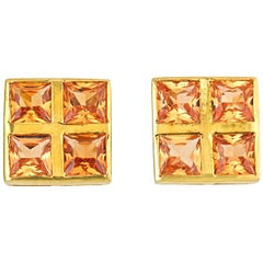 Square-Cut 18 Karat Yellow Gold Citrine Cufflinks
