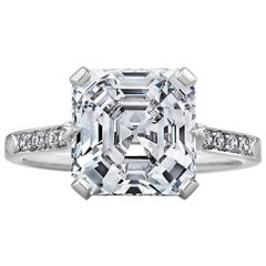 Square Cut Asscher 4.21 Diamond Platinum Engagement Ring