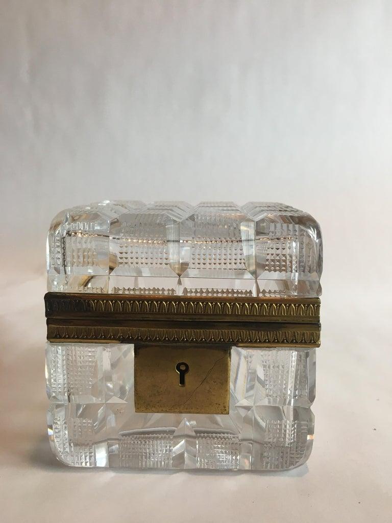 Square cut crystal and ormolu casket box.