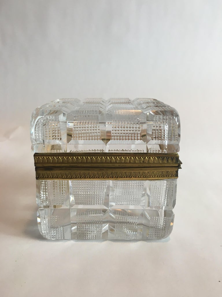 Square Cut Crystal Glass Box For Sale 1