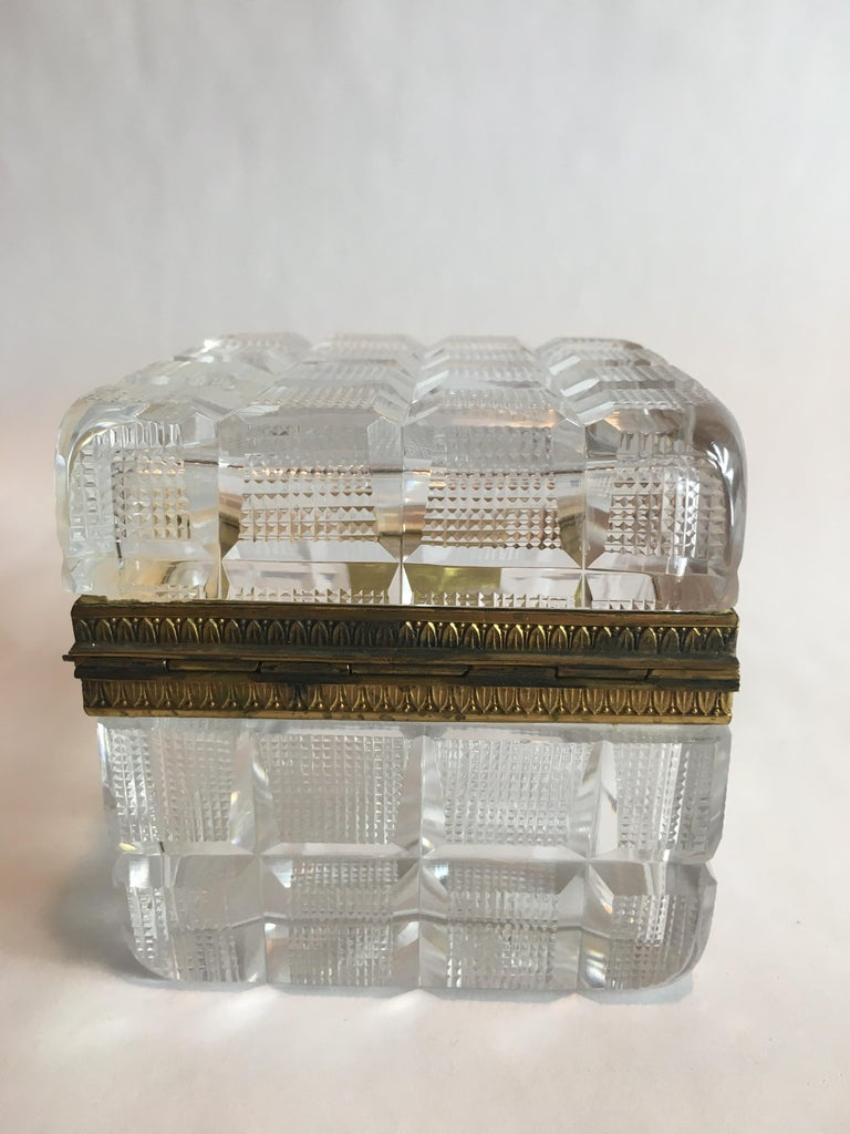 Square Cut Crystal Glass Box For Sale 2