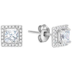 Square Cut Diamond Halo White Gold or Platinum Stud Earrings