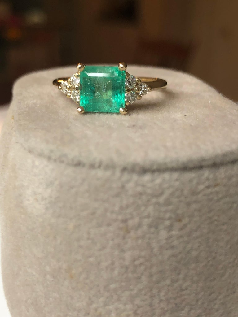 Art Deco Square Cut Emerald and Diamond Ring Gold For Sale