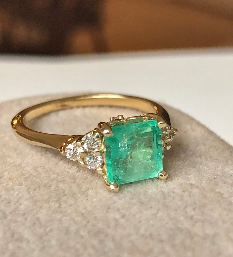 Women's Square Cut Emerald and Diamond Ring Gold For Sale