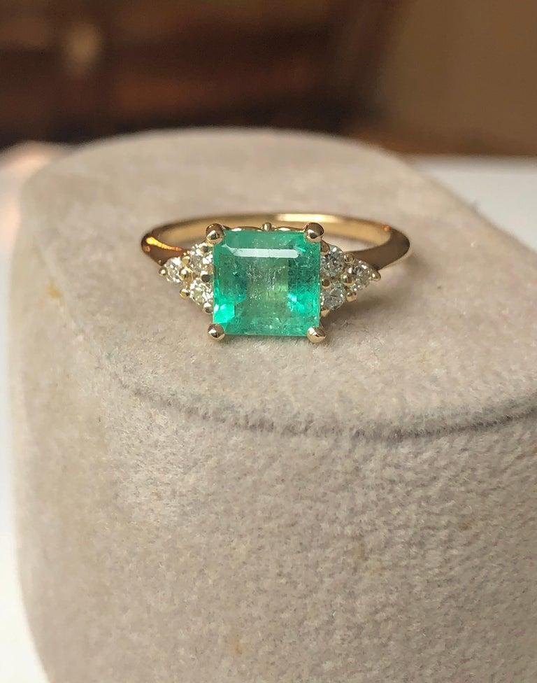 Emerald Cut Square Cut Emerald and Diamond Ring Gold For Sale