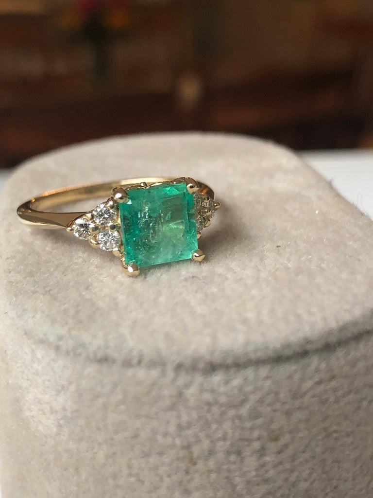 Square Cut Emerald and Diamond Ring Gold For Sale 1