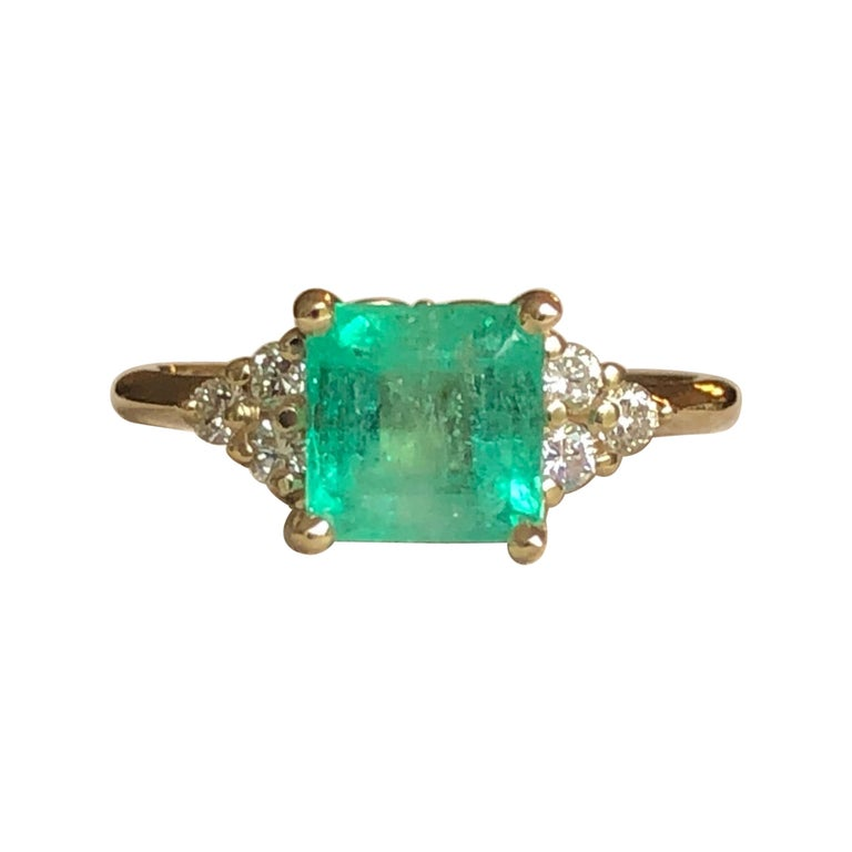 Square Cut Emerald and Diamond Ring Gold For Sale