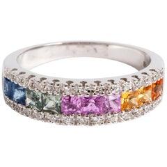 Square Cut Multicoloured Sapphire and Diamond Ring