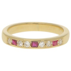 Square Cut Ruby and Diamond Half Eternity Ring in 18 Karat Yellow Gold