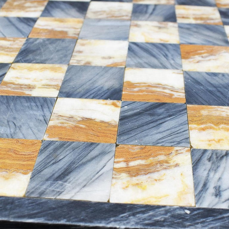 American Square Cutting Board, Checker or Chess Game Board in Black and Pink Marble For Sale
