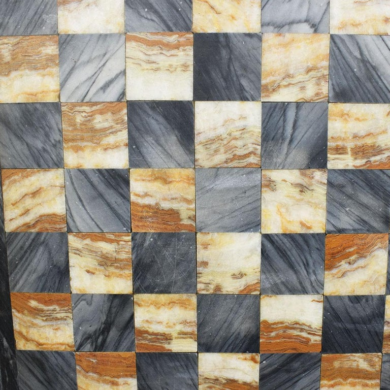 Square Cutting Board, Checker or Chess Game Board in Black and Pink Marble In Good Condition For Sale In Oklahoma City, OK