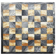 Square Cutting Board, Checker or Chess Game Board in Black and Pink Marble