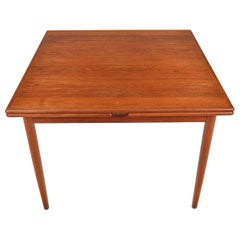 Square Danish Modern Draw Leaf Dining Table in Teak