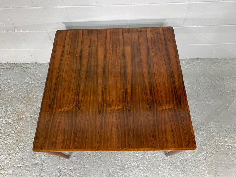 Square Danish Modern Mid-Century Rosewood Coffee Table In Good Condition For Sale In Belmont, MA